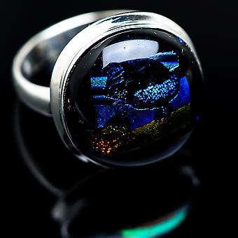 Dichroic Glass Ring Size 8 (925 Sterling Silver)  - Handmade Boho Vintage Jewelry RING987076