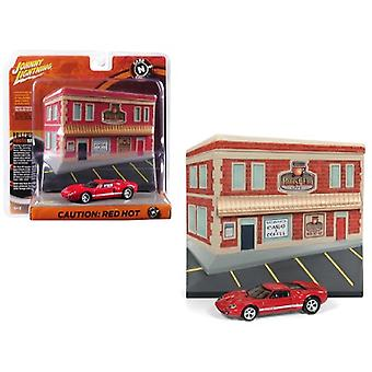 2005 Ford GT Red with Resin Cafe Front Facade Cars and Coffee Diorama 1/64 Diecast Model Car by Johnny Lightning