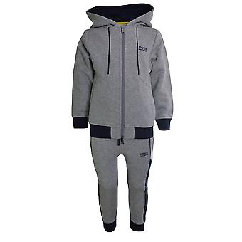 Hugo Boss Boys Hugo Boss Kids Grey And Navy Full Tracksuit