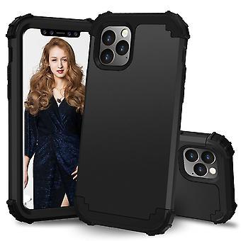 Für iPhone 11 Pro Max PC+ Silikon dreiteilige Anti-Dropback Cover Schwarz