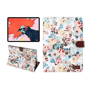 iPad Pro 11 tuuman (2018) kotelo, PU nahka folio kansi, valkoinen kukka kangas