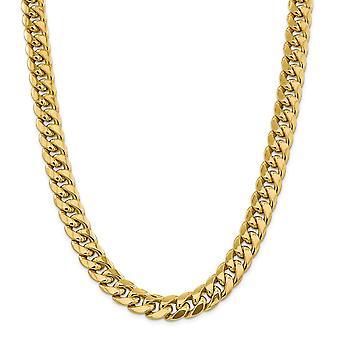 14k Gold 12,6mm Polotuhý Miami Curb Reťaz Členok Náramok Šperky darčeky pre ženy - Dĺžka: 8 až 10