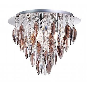 THLC Willazzo Round 3 Light Flush Ceiling Fitting In Polished Chrome With Smoked Droplets