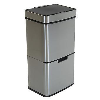 Charles Bentley Dreifachfach Edelstahl 62L Sensor Behälter Recycling Abfall Müll Eimer Soft Close Timer automatische Deckel 75cm
