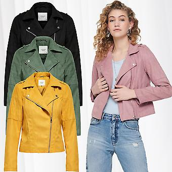 Women JDY Cust Leather Jacket Suede Biker Velour Leather look Imitation Leather