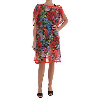 Dolce & Gabbana Wielobarwny kwiatowy jedwabny poncho sukienka