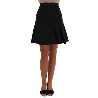 Dolce & Gabbana Black Floral Jacquard Silk A-Line Skirt