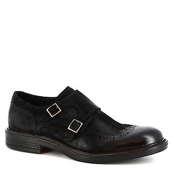 Leonardo Shoes Men-apos;s brogues double moine en cuir de daim noir