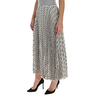 Valentino Tb3ra5k25510an Women's White/black Silk Skirt