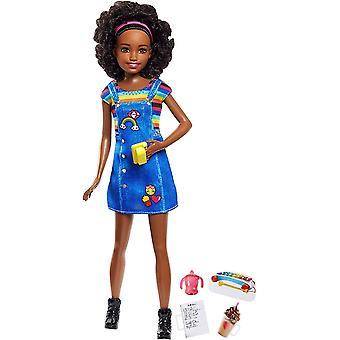 Barbie Skipper Barnvakt Doll Mörkhyad Docka Med Mobil & Babyflaska