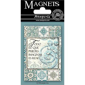 Stamperia Azulejos Writings 8x5.5cm Magnet
