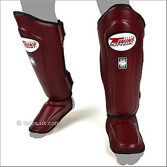 Twins special double padded leather shin guards - maroon