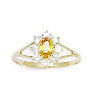 14k Yellow Gold Yellow CZ Cubic Zirconia Simulated Diamond Size 5.5 Oval Flower for boys or girls Ring