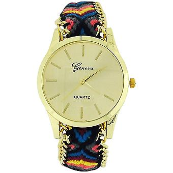 Die Olivia Collection Ladies Pull Tie Closure Blac Multicolour Woven Strap Watch