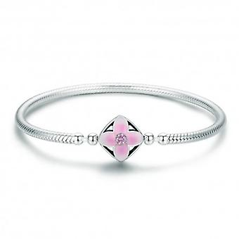 Sterling-silber Charm-armband Blumen Quadrat - 5795