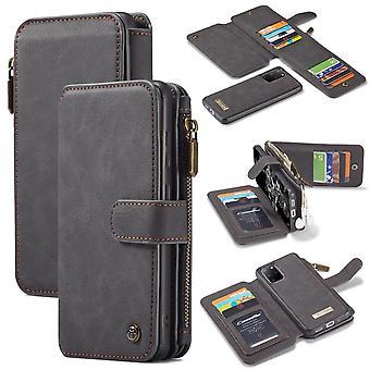 CASEME Samsung Galaxy S20 Plus Retro Leather Wallet Case - Grey