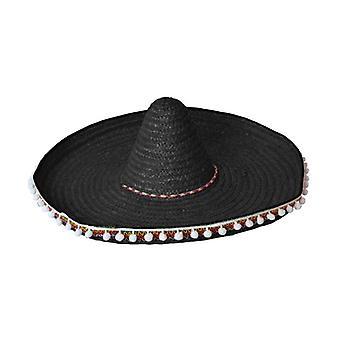 Stroh Sombrero 60cm schwarz