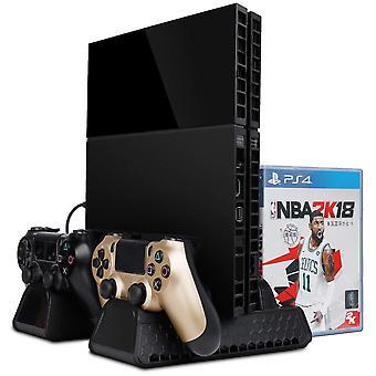 Multifunktionaler PS4-Ständer mit Lüfter, Ladestation und Lagerung