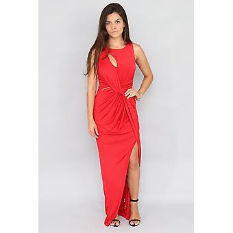 Twist front maxi red dress