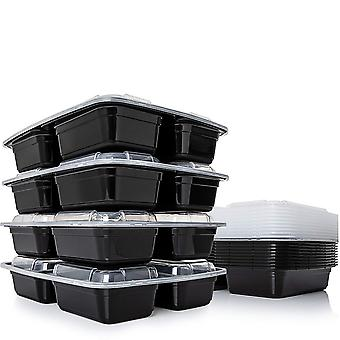 21 Pack Meal Prep Containers 3-compartment Lunch Boxes With Lids Food Storage Bento Box Bpa-free Stackable Microwave/dishwasher/freezer Safe