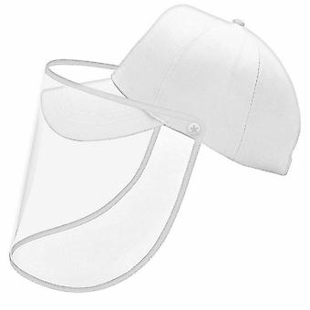 White Unisex Anti-saliva Protective Baseball Hat Cap and Face Shield Transparent Cover