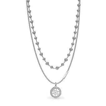 Halsband och hänge tropiska solen UBN78009 - halsband och hänge gissning stål rhodi dubbel cha c? urs 4G kvinna Swarovskikristaller