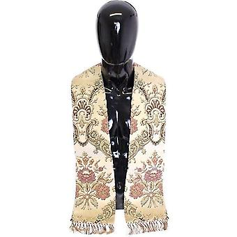 Dolce & Gabbana Scarf Men`s Beige Silk Necktie Baroque Pattern -- SCA1463685