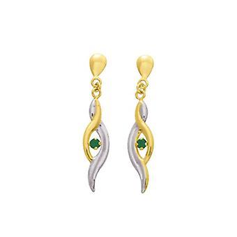 Bijoux pour tous - Gold bicolor earring with esmeraldo - woman - green