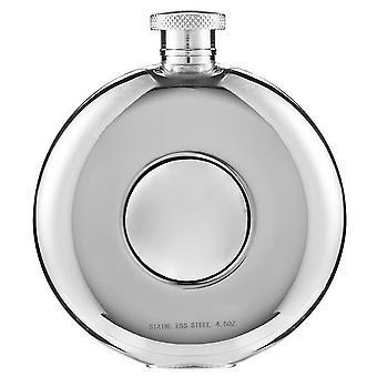 Orton West 4oz tondo oblò Hip Flask - argento