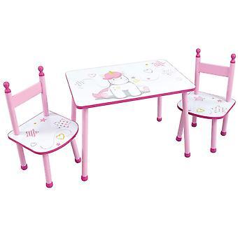 Tischset und 2 Einhornstühle