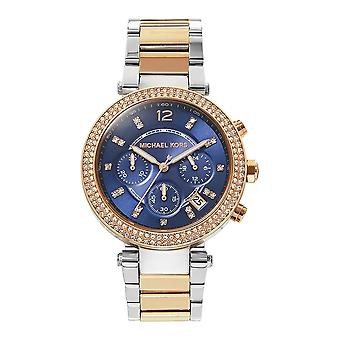 Michael Kors Watches Mk6141 Parker Rose Gold And Silver Two Tone Chronograph Ladies Watch