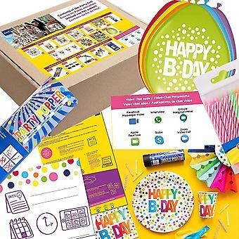 Happy Birthday Quarantäne Online Party Set XL 137-teilig für 6 Gäste Onlineparty Deko Partypaket