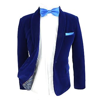 Jongens Royal Blue Velvet Blazer vest Sets