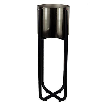 Tall Black Stand with Silver Metal Planter 62cm x 18cm