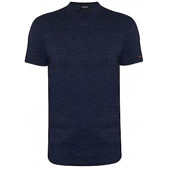 DSQUARED2 Underwear Slim Fit Blue Melange Logo Crew Neck T-Shirt