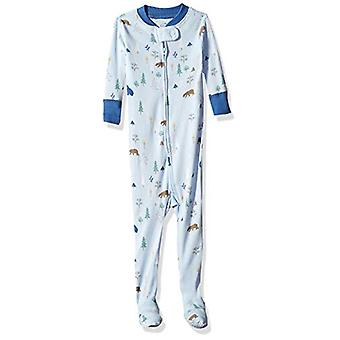 Moon and Back Organic One-Piece Footed Pajamas, owl Print, 12-18 Months