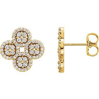 14k Gul Guld 0,5 Dwt Diamond Klöver Örhängen Smycken Gåvor för kvinnor