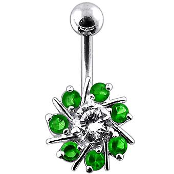 925 Sterling silver Fancy Jeweled Flower Curved Bar Belly Ring