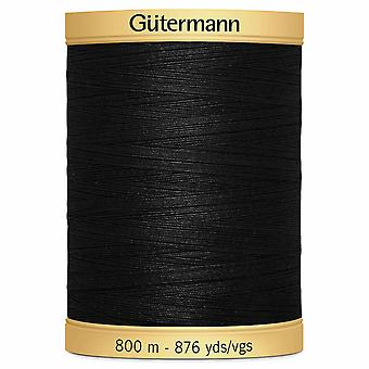 Gutermann 100% Natural Cotton Thread 800m Code couleur main et machine - 5201 Noir