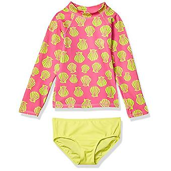 Spotted Zebra Girls' Swim Rashguard with Bottom, Seashells, Medium (8)