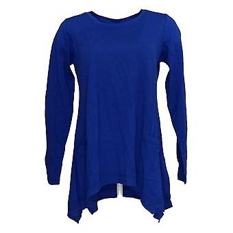 LOGO van Lori Goldstein Women's Top Long Sleeve w/ Rib Details Blue A346434