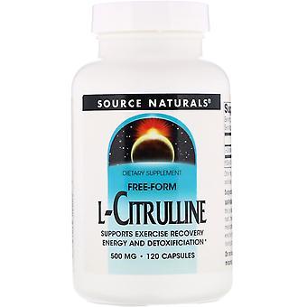 Fuente Naturales, L-citrulina, 500 mg, 120 Cápsulas