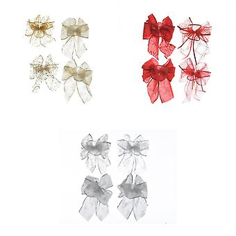 Kaemingk Assorted Bow Christmas Decorations (Pack Of 4)