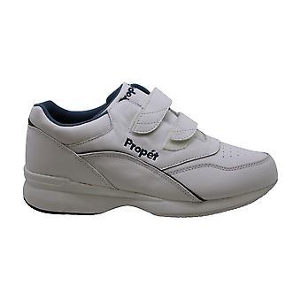 Propet Women's Tour Walker Strap Shoe White/Blue 9.5 X (2E)