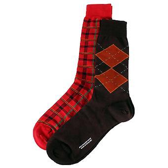 Pantherella Merino Wool Gift Box Socks - Maroon/Royal Red