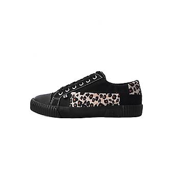 TUK Shoes Vegan Leopard Fur Patch Rubber Toe Sneaker