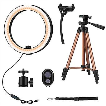 10 Inch Selfie Ring Light With 50 Inch Tripod Stand & Phone Holder For Makeup