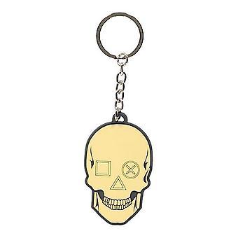 Sony Playstation Biker Skull Rubber Keychain Yellow/Black (KE505417SNY)