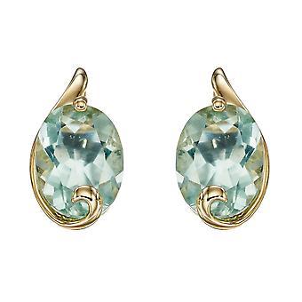 Elements Gold 9ct Green Fluorite Swirl Yellow Gold Studs Earrings GE2347G
