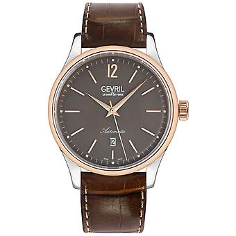 Gevril Men's Five Points 4255A Sellita SW200 Swiss Automatic Brown Leather Watch